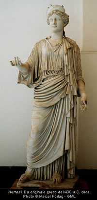 Nemesis, the Greek goddess who meted out divine retribution for wrongdoing